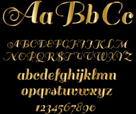Glossy golden alphabet and numbers vector 05