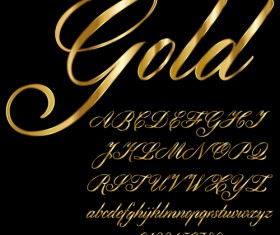 Glossy golden alphabet and numbers vector 06