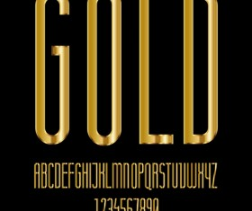 Glossy golden alphabet and numbers vector 07