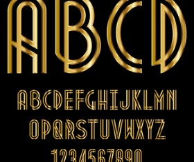 Glossy golden alphabet and numbers vector 08