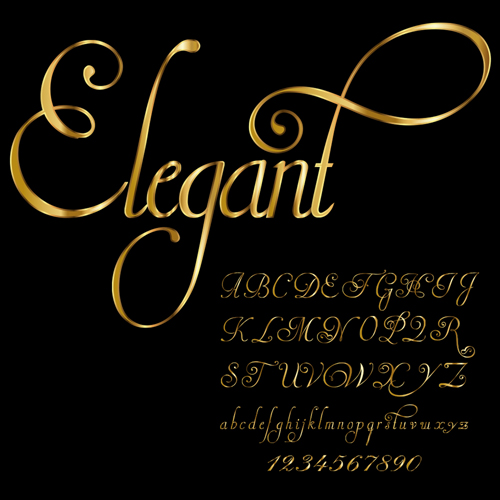 Glossy golden alphabet and numbers vector 09 free download