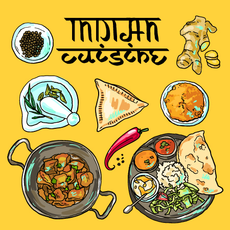 Hand drawn indian food elements vector 01 vector food for Art of indian cuisine