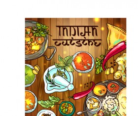 Hand drawn Indian food elements vector 05
