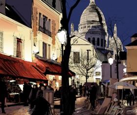 Hand drawn city street scenery vector
