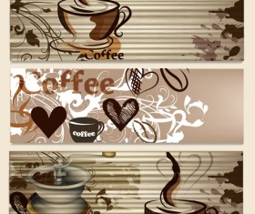 Hand drawn coffee banner elements vector 01