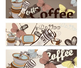 Hand drawn coffee banner elements vector 03