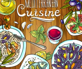Hand drawn food vintage background art 01