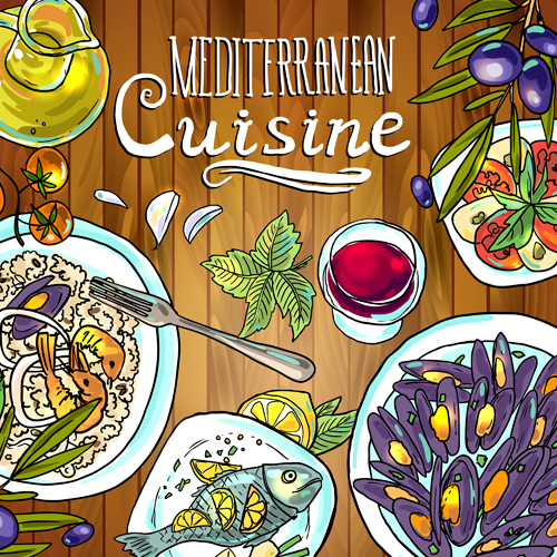 Hand drawn food vintage background art 01 - Vector ...  Retro Clip Art Food