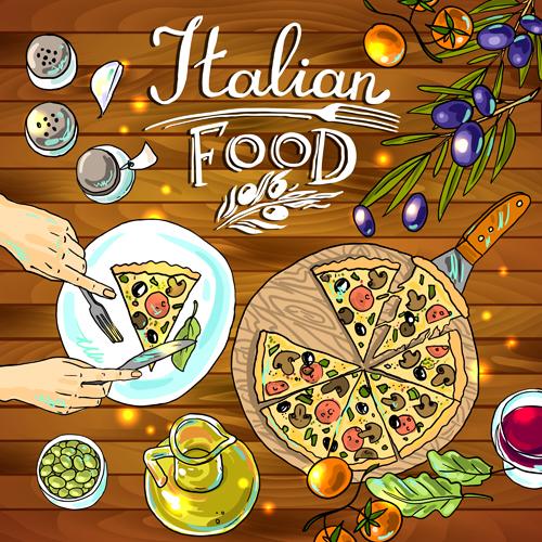 Hand drawn food vintage background art 02 - Vector ...  Retro Clip Art Food