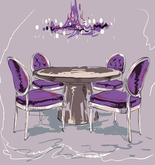Hand drawn furniture home vector set 03