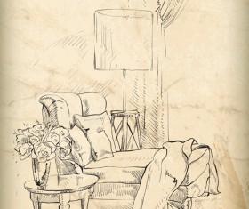 Hand drawn furniture home vector set 05