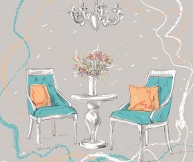 Hand drawn furniture home vector set 06