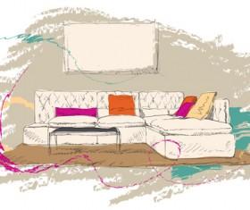 Hand drawn furniture home vector set 07