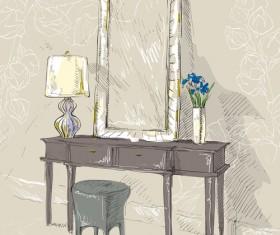 Hand drawn furniture home vector set 08