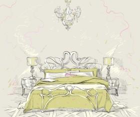 Hand drawn furniture home vector set 09