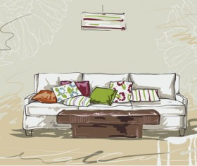 Hand drawn furniture home vector set 11
