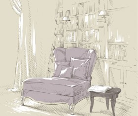 Hand drawn furniture home vector set 12