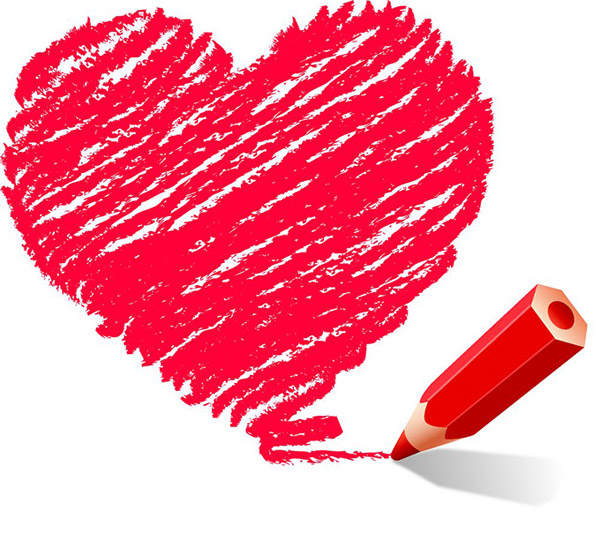 Hand Drawn Heart With Red Pen Vector Vector Heart Shaped
