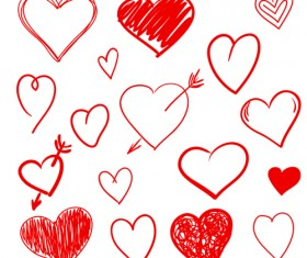 Hand drawn red heart 01 vector graphics