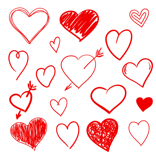 Hand Drawn Red Heart 01 Vector Graphics Vector Heart
