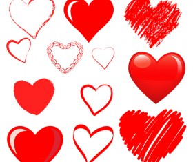 Hand drawn red heart 02 vector graphics