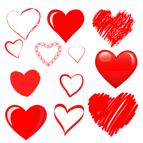 Hand drawn red heart 02 vector graphics - Vector Heart ...