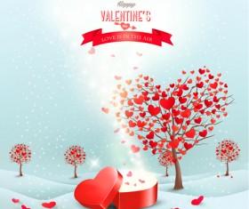 Heart tree valentine background art 03