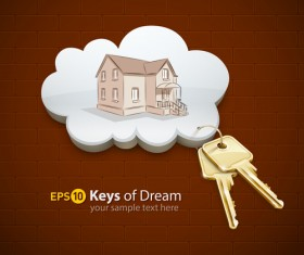 Keys with home vector background