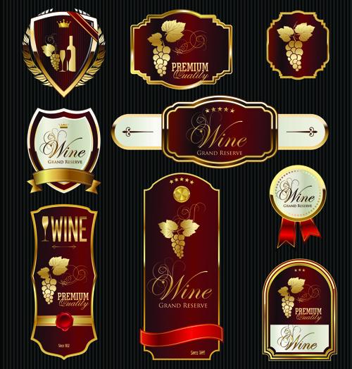 Luxury golden wine labels vector 03 free download