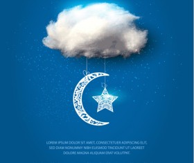 Moon with star ornament and cloud background