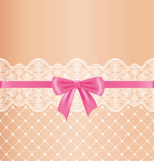 Ornate Bow With Lace Background Vector 03