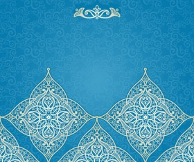 Ornate eastern style floral background vector 01