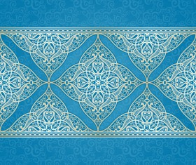 Ornate eastern style floral background vector 02