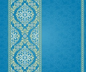 Ornate eastern style floral background vector 03