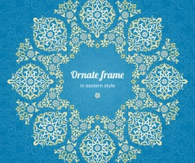 Ornate eastern style floral background vector 04