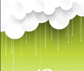 Paper cut cloud with green background
