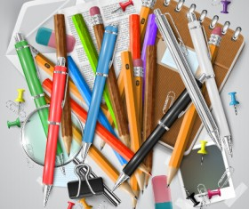 Pencil and learning tools background vector 01