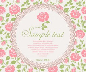 Pink rose with vintage card vector 01