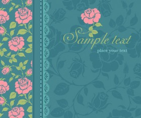 Pink rose with vintage card vector 02