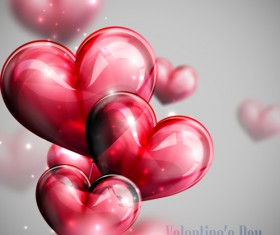 Red heart shapes balloon Valentine background 02