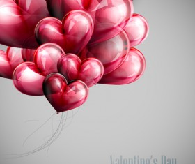 Red heart shapes balloon Valentine background 03