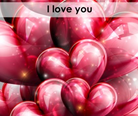 Red heart shapes balloon Valentine background 04