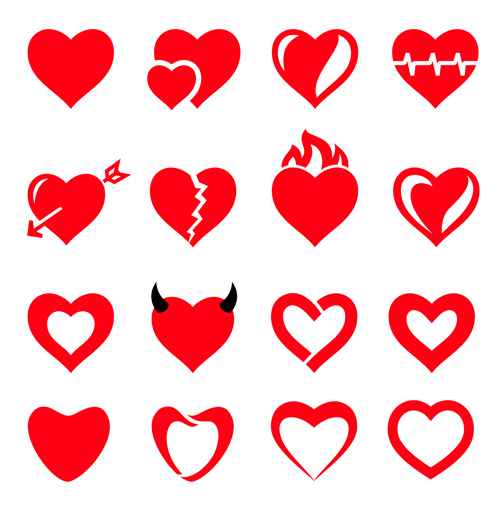 Red heart shapes icons vector set 01