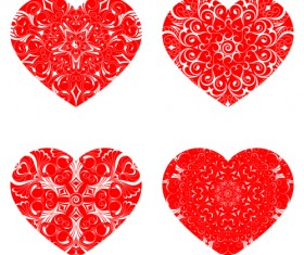 Red heart shapes icons vector set 02