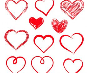 Red heart shapes icons vector set 04