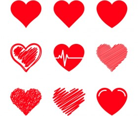 Red heart shapes icons vector set 05