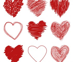 Red heart shapes icons vector set 06
