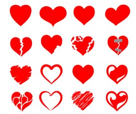 Red heart shapes icons vector set 07