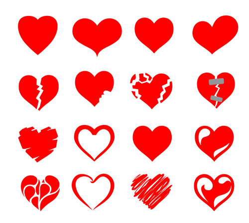 07 >> Red Heart Shapes Icons Vector Set 07 Free Download