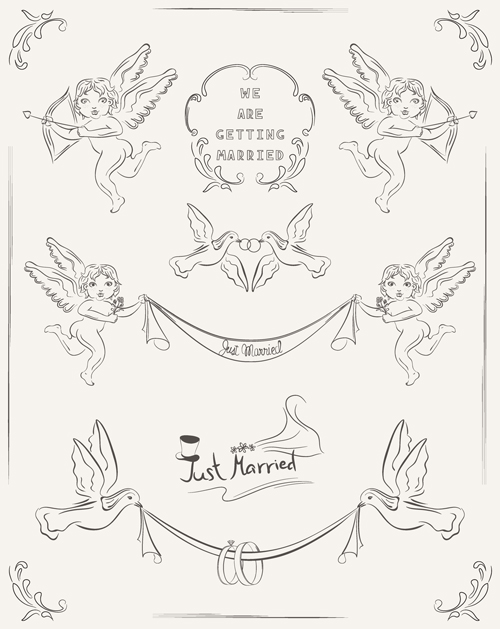 Wedding Card Line Art Designs : Romantic wedding invitation cards hand drawn vector